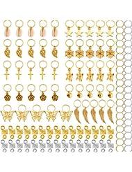 120 Pièces Anneaux de Tresse de Cheveux en Métal Poignets de Cheveux Cuivre Dreadlocks de Cheveux et Pendentif Charmes Accessoires de Bandeau de Pince à Cheveux, Or et Argent