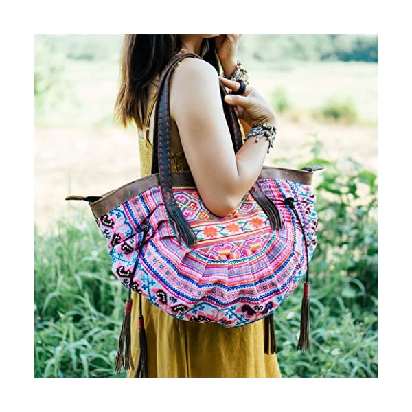 Changnoi One of a Kind Vintage Tote Bag for Women with Hmong Embroidered, Ethnic Shoulder Bag, Hill Tribe Beach Tote from Thailand - handmade-bags