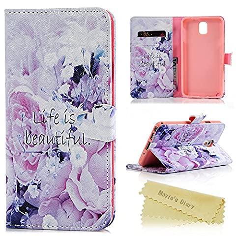 Galaxy Note 3 Case ,Samsung Galaxy Note 3 Case - Mavis's Diary Wallet Flip Bumper Cover PU Leather Case Shockproof Colorful Printing Design with Soft Inner TPU Case Slim Fit Folio Stand Protective Magnetic Cover for Samsung Galaxy Note 3 - Purple Flower