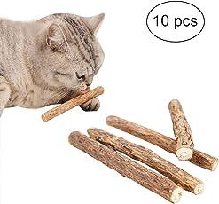 FineInno 10 Stück Katzenminze Sticks Cat Catnip Sticks Matatabi Silvervine Sticks katnip Katzenspielzeug Minze Kausticks Kaustäbchen Holz Helfen spielerisch bei Zahnstein, Mundgeruch & Zahnpflege