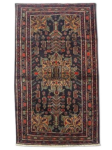 Handgeknüpfter Baluchi Teppich, Schwarz, Wolle, 114 X 192 cm