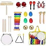 Ulifeme Instrument de Musique pour Enfant, 24 Pièces Instruments de Musique en Bois Percussion pour Bébé avec Xylophone, Tamb
