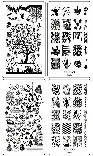 g Plates Double-sided Design Halloween & Christmas Style Image Manicure Stamp Collection Kit - Pcs with Card Case by E.J.B (Einfache Halloween-tutorials)