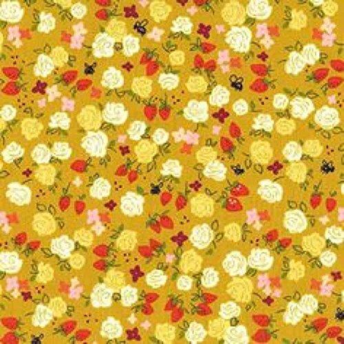 Henna Strawberry (Baumwolle Stoff-Meter-Michael Miller-Petit Henna Garten-Strawberry Blüten Honig)