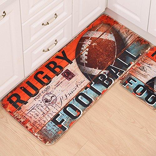 Einzigartige Fußball Küche Läufer Teppich 2rutschfesten Küche Bereich Teppich Eintrag Küche Matte mit Gummirückseite waschbar Indoor Outdoor Fußmatte Fußmatte 24x 16in + 47x 20in von maxyoyo, Mikrofaser, Rugby, 31x 20 In + 47x 20 In