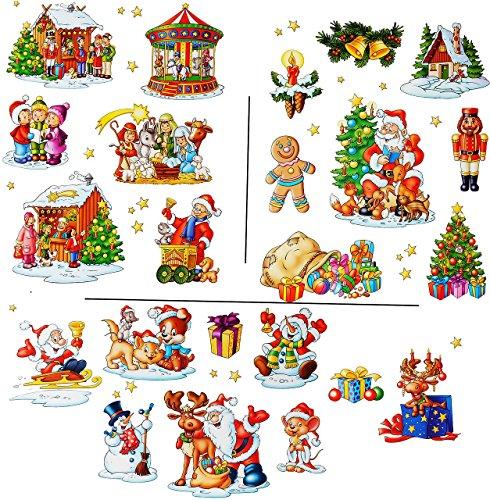 """2 versch. Bögen: statisch haftende Fensterbilder - """" wunderschöne Weihnachten """" - Weihnachtskrippe / Schneemann / Weihnachtsbaum / Weihnachtsmann - wiederverwendbar + selbstklebend / Sticker Fenstersticker - groß - Aufkleber - Geschenke / Krippe - Fensterbild - z.B. für Fenster und Spiegel - Fensterdeko Fensterfolie Kinderzimmer Deko"""