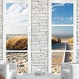 murando - Fototapete Fenster Meer 250x175 cm - Vlies Tapete - Moderne Wanddeko - Design Tapete - Wandtapete - Wand Dekoration - Meer Strand Sand Natur Fenster Steine Ziegel c-A-0066-a-d