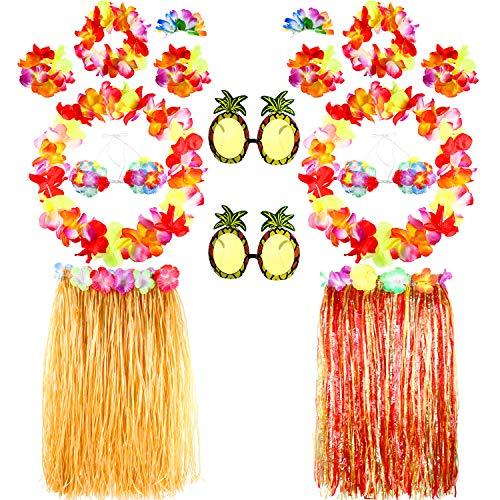 16 Stücke Hawaiian Partei Vorräte Ananas Sonnenbrille Tropische Blume Phantasie Hula Röcke Girlanden Set Sommer Kranz Dekor