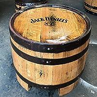 Mesita de madera maciza de roble reciclado, con logotipo de la marca de whisky Jack