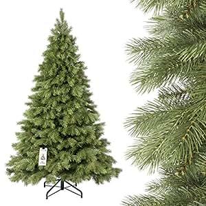 FAIRYTREES Albero di Natale artificiale ABETE REALE PREMIUM, mix di materiali tra pressofuso e PVC, incl. supporto in metallo, 180cm