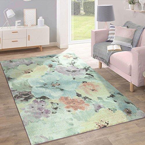 Paco Home Kurzflor Teppich Trendige Pastellfarben Modernes Blumen Design Mehrfarbig Bunt, Grösse:200x280 cm (Blumen Moderne Teppich)