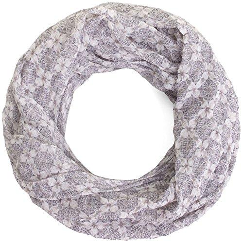 Compagno Leichter Sommer-Loopschal für Damen mit klassischem Muster Schal Damenschal, SCHAL Farbe:Floral-Hellgrau (Florales Schal Muster)