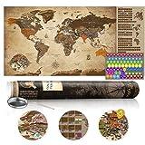 murando Mappamondo da grattare 100x50 cm Vintage Mappa del mondo Laminata (superficie scrivibile e cancellabile) Mappa del mondo da grattare con le bandiere Mappa da grattare k-A-0228-o-b