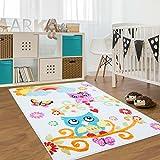 carpet city Kinderteppich, Teppich Flachflor für Kinderzimmer mit Bunten Eulen-Motiv in Creme, für Jungen und Mädchen, Größe: 190 x 280 cm