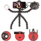 JOBY GorillaPod Mobile Vlogging Kit (Carcasa Smartphone, Wavo Mobile Mic, Luz LED Beamo Mini) Trípode Flexible, Carcasa para