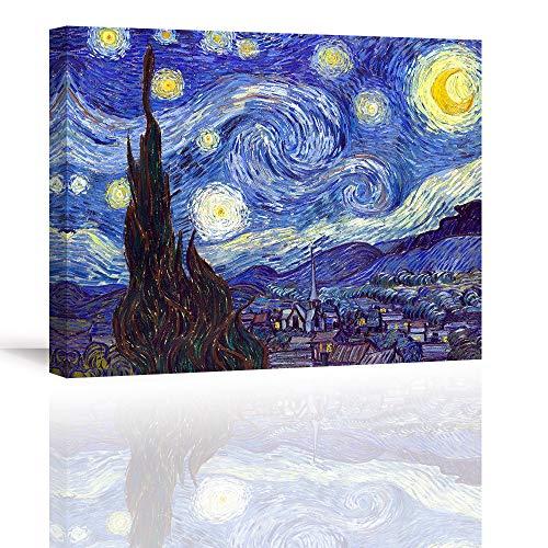 Piy Painting Cuadro en Lienzo Reproducción Starry Night by Van Gogh Pinturas murales Paisaje Abstracto Decoración Impresiones de Lienzo para Sala de Estar Decoración de Dormitorio 30x30cmx2.5cm
