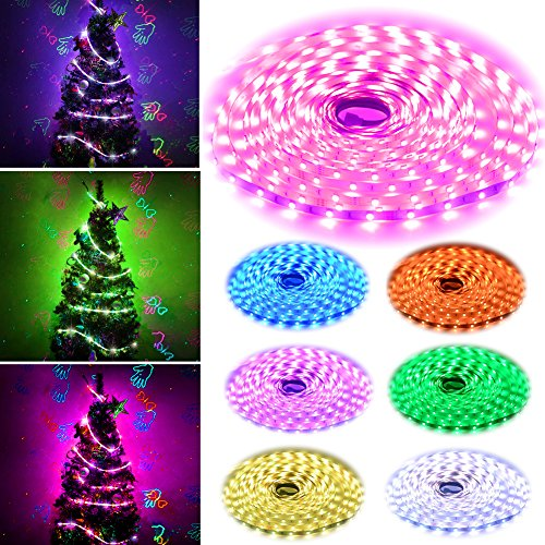 Simfonio Led Strips Lighting 10M 300Leds Multicolored 5050 SMD RGB LED Flexible Strip Lighting Full Kit with 44 Key IR Remote Controller and 24V 3A UK Power Supply for Home Decoration