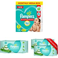 Pampers New Diapers Pants Monthly Box Pack, Small (172 Count) & Pampers Aloe Vera Baby Wipes - 72 Count (Pack of 3)