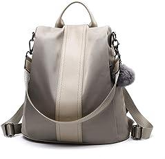 Lantch Damen Rucksack Handtasche Leder PU Umhängetasche Backpack Schultertasche Anti Diebstahl Tasche Wasserdichte Nylon Schulrucksack