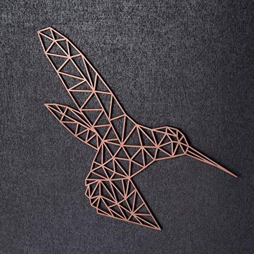 GRAVURZEILE Origami Kolibri aus Holz - in verschiedenen Farben & Größen - Moderne Wand-Deko & Eyecatcher - Farbe Schwarz, Größe: XL (60,0 x 49,5 cm)