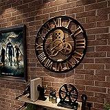 Framy 3D Vintage Wanduhr Stille Wanduhr Römische Zahl Aus Holz Große Runde Nicht Tickende Quarzdekoration Kunstuhren 80Cm / 32 Inch,a,32in