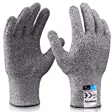 Grebarley Arbeitshandschuhe,Schnittschutzhandschuhe,Küchen Handschuhe,Level 5 Schutz,Lebensmittelecht,EN388 Zertifiziert,Gestrickt Handschuhe für Gartenbau/Baustelle/Küche,Grau 1Paar (L)