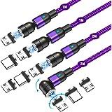 Melonboy Magnetische Oplaadkabel [1m+1m+2m+2m] Snel Opladen en Gegevensoverdracht 3-in-1 Magnetische USB-kabel 360° en 180° D