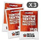 Set di 3sacchetti di tintura–Arancione salmone–Coloranti universali per vestiti e tessuti naturali
