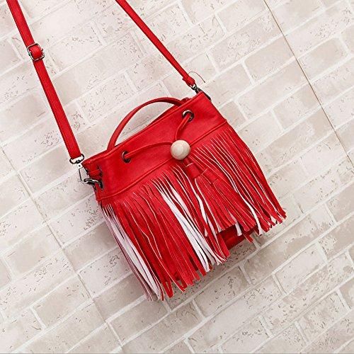 Longra Donne Perle nappe borse a spalla in legno Rosso