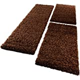 PHC Bettumrandung Läufer Shaggy Hochflor Langflor Teppich in Braun Läuferset 3Tlg, Grösse:2mal 60x100 1mal 70x250