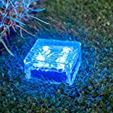 Lights4fun 4er Set LED Solar Glas Pflastersteine Wegbeleuchtung blau groß