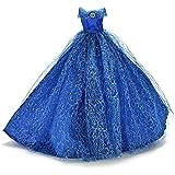 Asiv® Premium Brillant Fait Main Robes de Mariée Princesse Robe de Vêtements de Mode pour Poupées Barbie avec Chapeau de Plumes