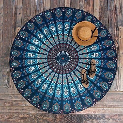 manfa plumas redondo de pavo real Mandala tapiz, Hippie Hippy estilo, manta cama colcha, gitana colgar en la pared, indio Boho Gypsy algodón mantel toalla de playa, tapiz de pared colgante, alfombra de Yoga Meditación redonda