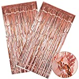 SIMUER Tende a Frange Foil Curtain Frange Finestre Tende Metallic Tinsel Foil Fringe Curtains per Le Decorazioni Feste (Oro Rosa) 2 Pack