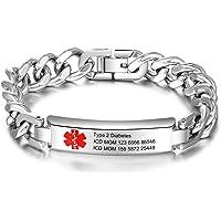 lorajewel Personalized Medical Alert ID Braccialetti Braccialetto di Emergenza in Silicone in Acciaio Inossidabile…
