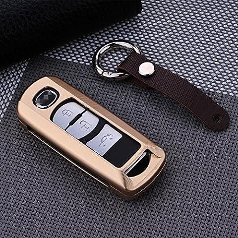 [M. JVisun] telecomando auto keyless entry chiave cover Fob Skin per Mazda 8CX-4CX-5CX-7CX-9–Axela, guscio protettivo in alluminio aeronautico Premium in vera pelle con portachiavi, Gold