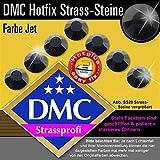 200 Stück DMC Strasssteine Hotfix, Jet (Schwarz), SS20 (Ø ca. 5 mm), geschliffene Strasssteine zum Aufbügeln