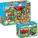 PLAYMOBIL Country 2-teiliges Bauernhof-Set 6120 Großer Bauernhof + 6130 Großer Traktor mit Anhänger
