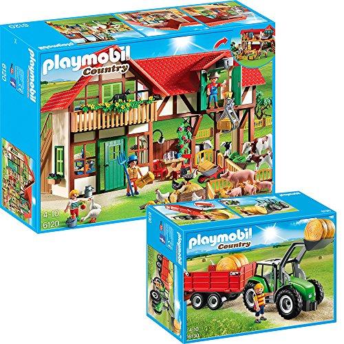 Preisvergleich Produktbild PLAYMOBIL Country 2-teiliges Bauernhof-Set 6120 Großer Bauernhof + 6130 Großer Traktor mit Anhänger