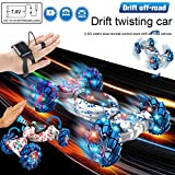 HUHU833 Ferngesteuertes Auto,2.4G RC Auto mit Gesture Sensing Control Stunt Car,4MD High Speed Off-Road Remote Control Truck Twisting Drift Auto for Adults Kids Xmas Toys Gifts (Blau) -