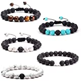 Xinzistar 5 PCS Anxiety Bracelet Lava Rock Bracelet Natural Stone Bead Essential Oil Diffuse Aromatherapy White Pine Tiger Ey