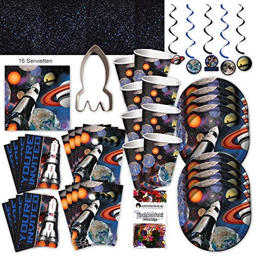 Weltraum Space Astronauten Party Set XL 64-teilig 8 Gäste Weltallparty Kindergeburtstag Partypaket