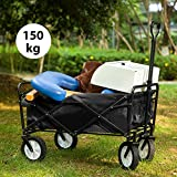 LIFE CARVER Garden Cart Foldable Pull Wagon Hand Cart Garden Transport Cart Collapsible Portable Folding Cart