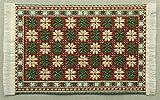 Miniatur Teppich, reines Polyester für Krippe, Puppenhaus, Blumen weiß / grün