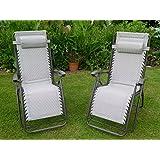 Silla de jardín - Juego de 2 acolchado Beige Sun hamacas reclinables - Textoline resistente a la intemperie