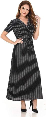 فساتين سوينغ متوسطة الطول وبفتحة رقبة على شكل حرف v  وبأزرار تصل لأسفل الفستان وبأربطة رفيعة للغاية وبدون أكمام وبرباط للخصر