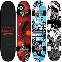 Abec 7 Bearings – PU Absorber + PU Wheels Skateboard – Atlantic Rift Design Selection of Colours