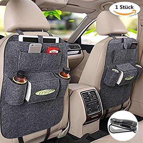 Rückenlehnenschutz, Auto Rücksitz Organizer Wolle Filz Sitz Tasche Schutz Halterung für Flaschen, Taschentücher Box, Spielzeuge (grau)