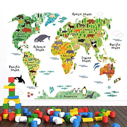 WandSticker4U- Wandtattoo Weltkarte Kinder | Wandbild: 100x80 cm | Kontinente Ozean World Map Atlas mit vielen süßen Tieren Geographie Erdkunde | Wandaufkleber Fototapete Deko für Kinderzimmer