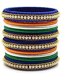 Indi Creation Silk Thread Bangles Set For Women Girl Republic Day Jewellery Tri Color Bangles Handmade Silk Dori...